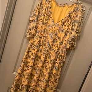 Yellow & Black Floral Boho Dress